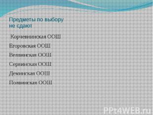 Предметы по выбору не сдают Корчевнинская ООШ Егоровская ООШ Велвинская ООШ Серв