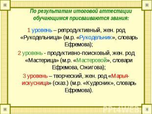 1 уровень – репродуктивный, жен. род «Рукодельница» (м.р. «Рукодельник», словарь