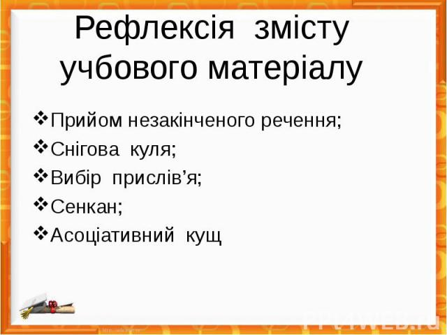 Рефлексія змісту учбового матеріалу Прийом незакінченого речення; Снігова куля; Вибір прислів'я; Сенкан; Асоціативний кущ
