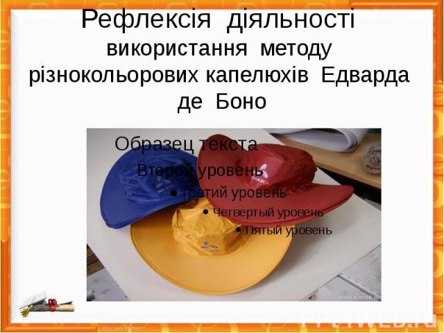 Рефлексія діяльності використання методу різнокольорових капелюхів Едварда де Боно