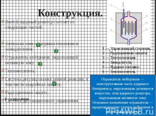 Конструкция. Любой ядерный реактор состоит из следующих частей: Активная зона с