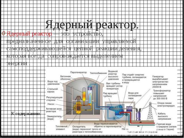 Ядерный реактор. Ядерный реактор — это устройство, предназначенное для организации управляемой самоподдерживающейся цепной реакции деления, которая всегда сопровождается выделением энергии .