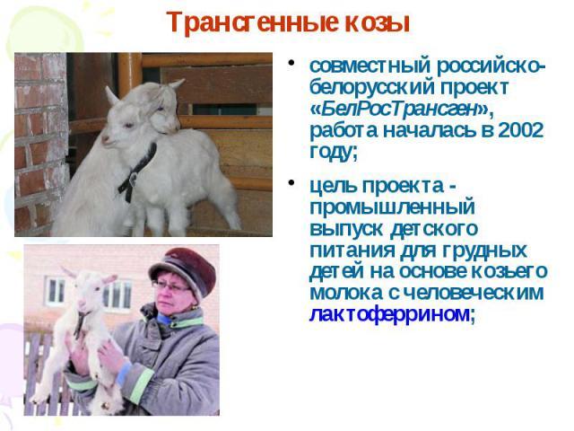совместный российско-белорусский проект «БелРосТрансген», работа началась в 2002 году; совместный российско-белорусский проект «БелРосТрансген», работа началась в 2002 году; цель проекта - промышленный выпуск детского питания для грудных детей на ос…