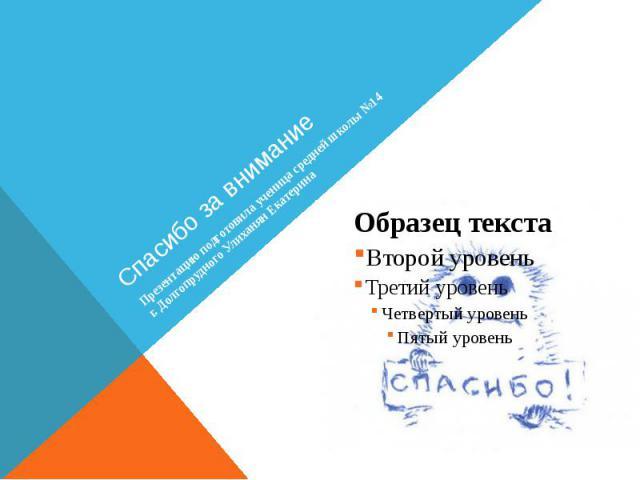 Спасибо за внимание Презентацию подготовила ученица средней школы №14 г. Долгопрудного Улиханян Екатерина