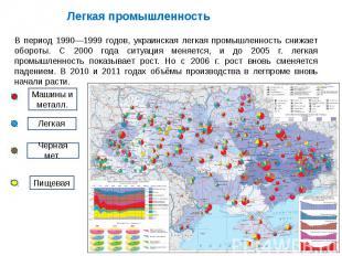 Легкая промышленностьВ период 1990—1999 годов, украинская легкая промышленность