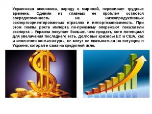 Украинская экономика, наряду с мировой, переживает трудные времена. Одними из гл