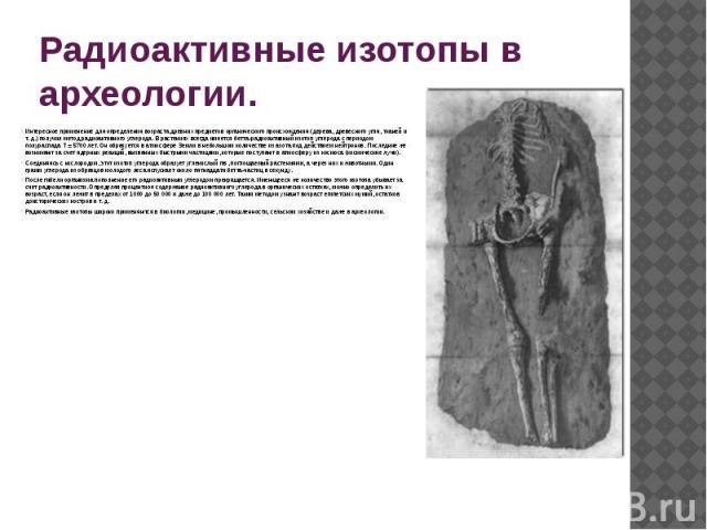 Применение радиации в археологии радиоуглеродный анализ