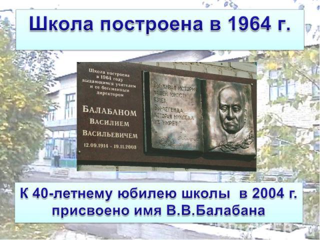 Школа построена в 1964 г. К 40-летнему юбилею школы в 2004 г. присвоено имя В.В.Балабана