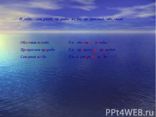 П_года, сев_рный, пр_рода, яг_да, пр_красный, обл_чный. Облачная погода Прекрасн