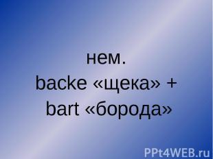 нем. backe «щека» + bart «борода»