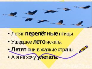Летят перелётные птицыУшедшее лето искать, Летят они в жаркие страны,А я не хочу