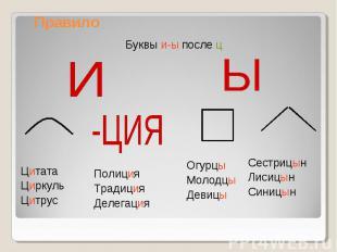 Правило Буквы и-ы после ц ЦитатаЦиркульЦитрус ПолицияТрадицияДелегация ОгурцыМол