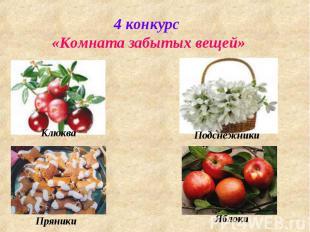 4 конкурс «Комната забытых вещей» Клюква Пряники Подснежники Яблоки