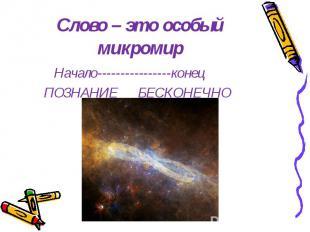 Слово – это особый микромир Начало----------------конец ПОЗНАНИЕ БЕСКОНЕЧНО