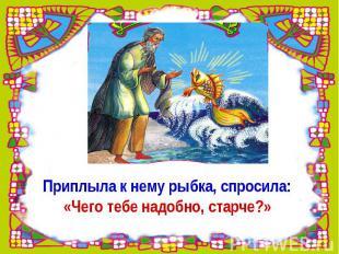 Приплыла к нему рыбка, спросила:«Чего тебе надобно, старче?»