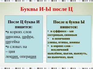 Буквы И-Ы после Ц После Ц буква И пишется:в корнях словциновка, цифра, цигейкав
