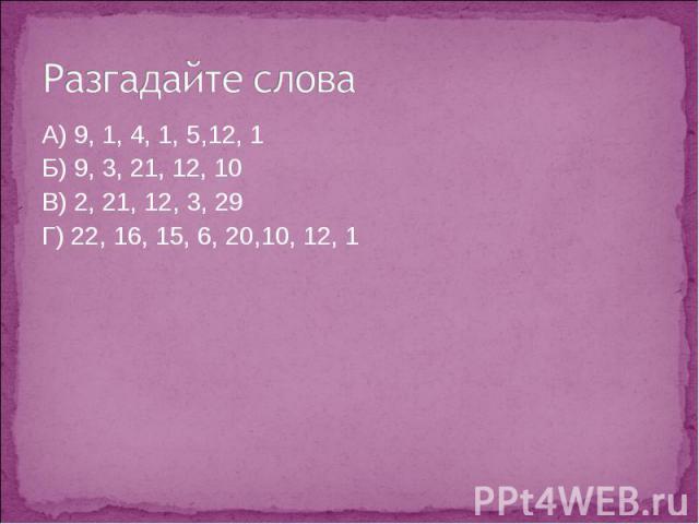 Разгадайте слова А) 9, 1, 4, 1, 5,12, 1Б) 9, 3, 21, 12, 10В) 2, 21, 12, 3, 29Г) 22, 16, 15, 6, 20,10, 12, 1