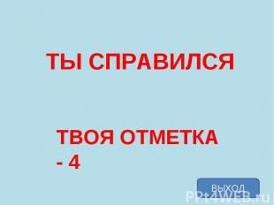 ТЫ СПРАВИЛСЯ ТВОЯ ОТМЕТКА - 4