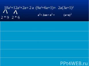 18a3+12a2+2a= (9a2+6a+1)= 2a(3a+1)2