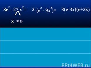 3e2 - 27 x2= (e2 - 9x2)= 3(e-3x)(e+3x)