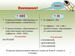 ННВ прилагательных, образованных от существительных с основой на-Н.В прилагатель