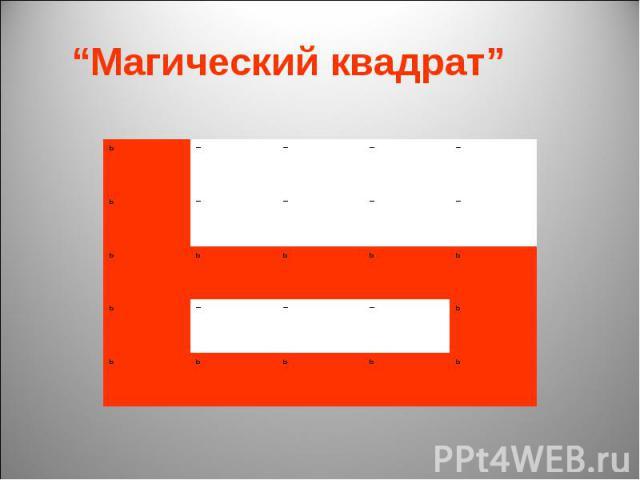 """""""Магический квадрат"""""""