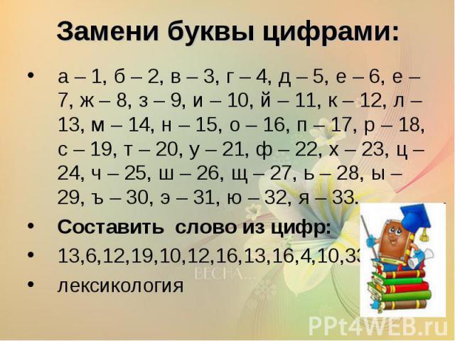 Замени буквы цифрами: а – 1, б – 2, в – 3, г – 4, д – 5, е – 6, е – 7, ж – 8, з – 9, и – 10, й – 11, к – 12, л – 13, м – 14, н – 15, о – 16, п – 17, р – 18, с – 19, т – 20, у – 21, ф – 22, х – 23, ц – 24, ч – 25, ш – 26, щ – 27, ь – 28, ы – 29, ъ – …