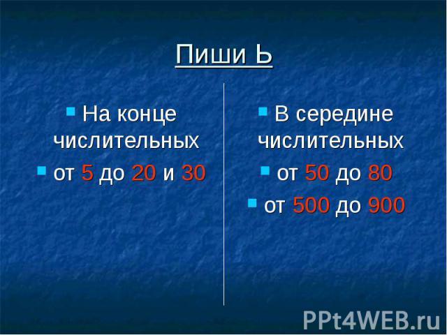 Пиши Ь На конце числительных от 5 до 20 и 30 В середине числительных от 50 до 80от 500 до 900