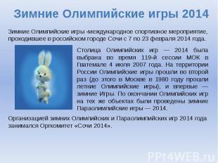 Зимние Олимпийские игры 2014 Зимние Олимпийские игры -международное спортивное м
