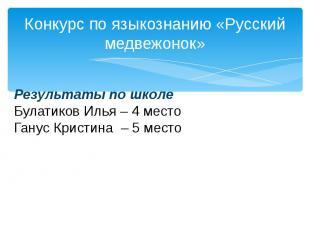 Конкурс по языкознанию «Русский медвежонок»