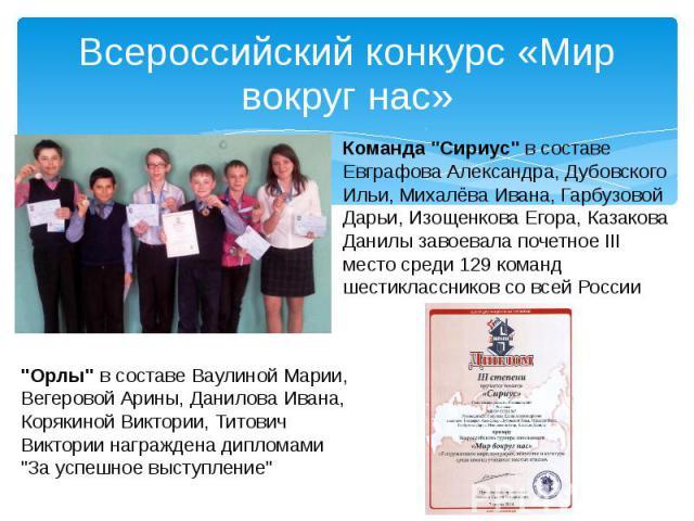 Всероссийский конкурс «Мир вокруг нас»
