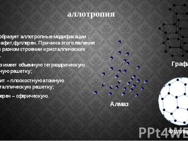 аллотропия Углерод образует аллотропные модификации : алмаз, графит,фуллерен. Причина этого явления состоит в разном строении кристаллических решеток . алмаз имеет объемную тетраэдрическую атомную решетку; графит – плоскостную атомную кристаллическу…