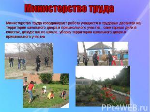 Министерство труда координирует работу учащихся в трудовых десантах на территори