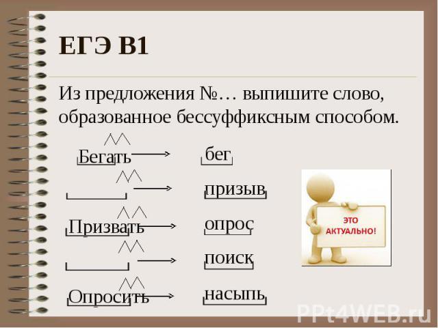 Из предложения №… выпишите слово, образованное бессуффиксным способом.
