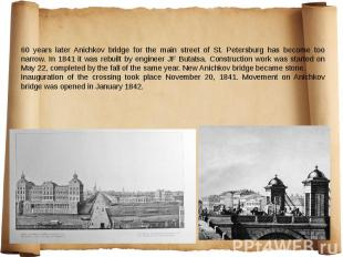 60 years later Anichkov bridge for the main street of St. Petersburg has become
