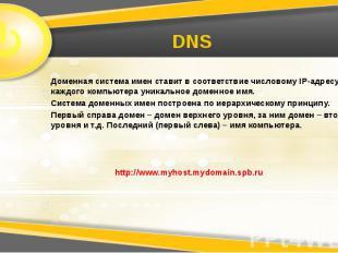 DNS Доменная система имен ставит в соответствие числовому IP-адресу каждого комп