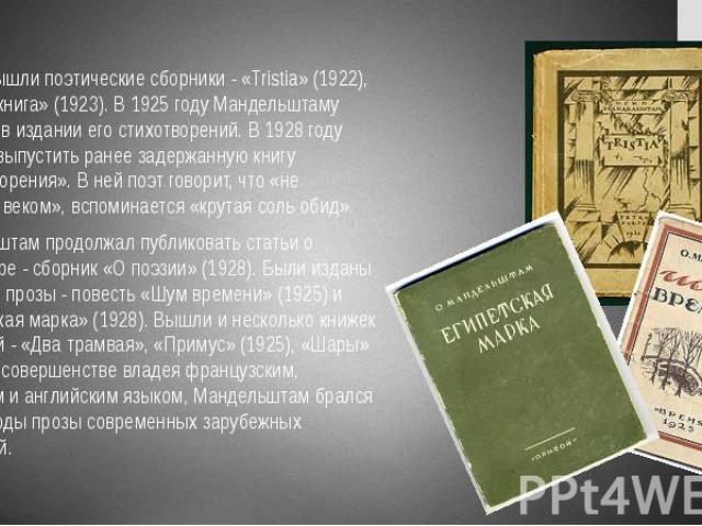 1920-е вышли поэтические сборники - «Tristia» (1922), «Вторая книга» (1923). В 1925 году Мандельштаму отказали в издании его стихотворений. В 1928 году удалось выпустить ранее задержанную книгу «Стихотворения». В ней поэт говорит, что «не услышан ве…