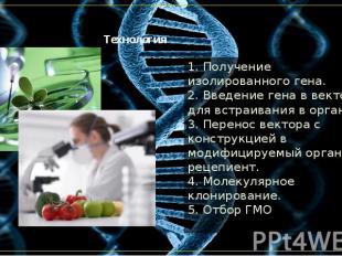 Технология 1. Получение изолированного гена. 2. Введение гена в вектор для встра