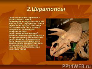 2.Цератопсы  Один из наиболее странных и удивительных видов динозавров, кото
