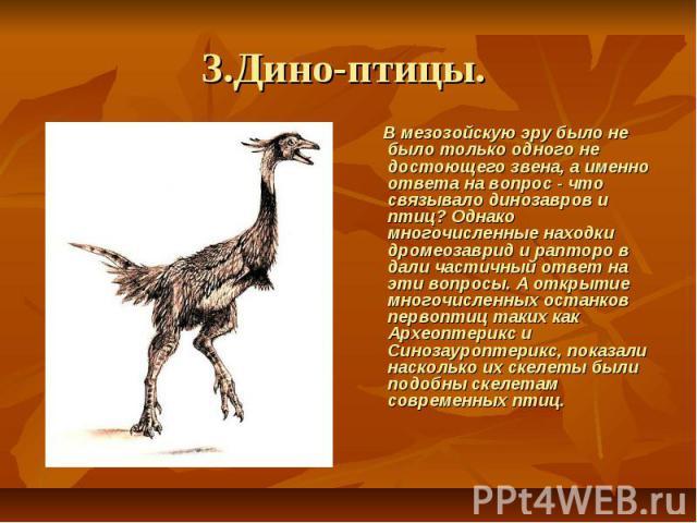 3.Дино-птицы. В мезозойскую эру было не было только одного не достоющего звена, а именно ответа на вопрос - что связывало динозавров и птиц? Однако многочисленные находки дромеозаврид и рапторо в дали частичный ответ на эти вопросы. А открытие …