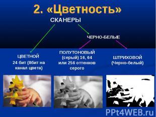 2. «Цветность» ЦВЕТНОЙ 24 бит (8бит на канал цвета) ПОЛУТОНОВЫЙ (серый) 16, 64 и