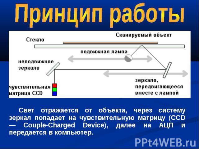 Свет отражается от объекта, через систему зеркал попадает на чувствительную матрицу (CCD — Couple-Charged Device), далее на АЦП и передается в компьютер.