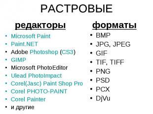 РАСТРОВЫЕ Microsoft Paint Paint.NET Adobe Photoshop (CS3) GIMP Microsoft PhotoEd