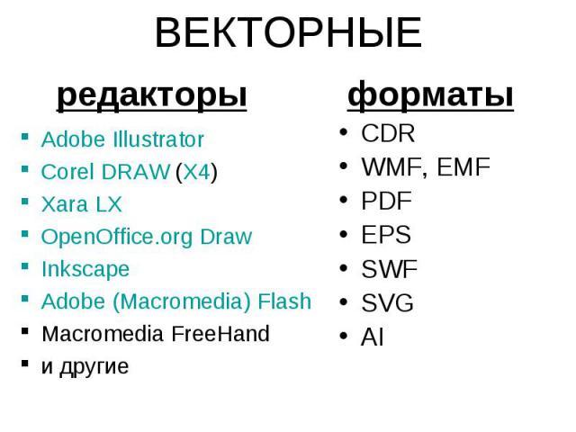 ВЕКТОРНЫЕ Adobe Illustrator Corel DRAW (X4) Xara LX OpenOffice.org Draw Inkscape Adobe (Macromedia) Flash Macromedia FreeHand и другие