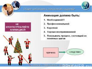 Общие требования к электронной поддержке НЕ ЗЛОУПОТРЕБЛЯЙТЕ АНИМАЦИЕЙ!