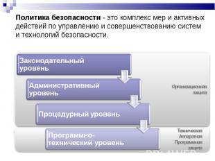 Политика безопасности - это комплекс мер и активных действий по управлению и сов