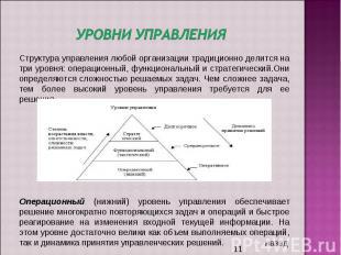 Уровни управления Структура управления любой организации традиционно делится на