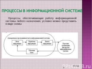 Процессы в информационной системе Процессы, обеспечивающие работу информационной