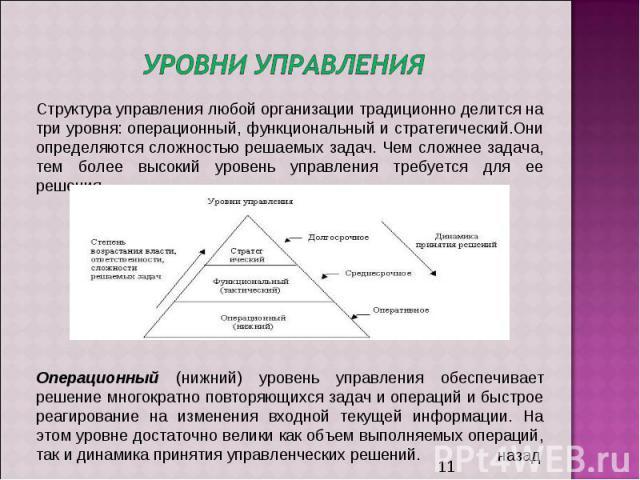 Уровни управления Структура управления любой организации традиционно делится на три уровня: операционный, функциональный и стратегический.Они определяются сложностью решаемых задач. Чем сложнее задача, тем более высокий уровень управления требуется …
