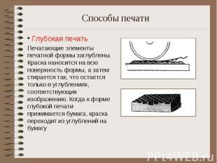 Глубокая печать Печатающие элементы печатной формы заглублены. Краска наносится